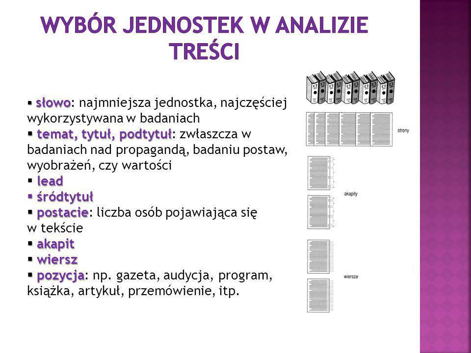 opracowanie kategorii analityc Etap czwarty: opracowanie kategorii analitycznych Musimy pamiętać, aby stosować się do kilku zasad: stosować jednolite zasady klasyfikacji klucz kategoryzacyjny powinien spełniać zasadę rozłączności klucz kategoryzacyjny powinien spełniać zasadę wyczerpalności Etap piąty: obliczanie, weryfikacja hipotez Etap szósty: rozstrzygnięcie problemu rzetelności i trafności metodologicznej