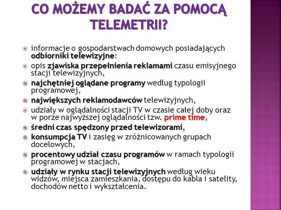 Pierwszy krok Pierwszy krok: Analiza struktury społeczeństwa; Drugi krok Drugi krok: Wybór grupy rodzin, która pozwoli odtworzyć strukturę demograficzną Polski w mniejszej skali (budowa panelu telemetrycznego); Trzeci krok Trzeci krok: Instalacja mierników telemetrycznych, dzięki którym gromadzone są informacje; Czwarty krok Czwarty krok: Codzienna transmisja danych od rodzin do komputerowej biblioteki AGB Nielsen Media Research; Piąty Krok Piąty Krok: Obróbka danych i stworzenie z tysięcy elementów jednej spójnej bazy danych; Szósty Krok Szósty Krok: Opisanie sekunda po sekundzie, jakie programy były nadawane przez poszczególne stacje; Siódmy krok Siódmy krok: Przekazanie klientom AGB Nielsen Media Research plików, które po umieszczeniu w oprogramowaniu dają pełny obraz widowni telewizyjnej.