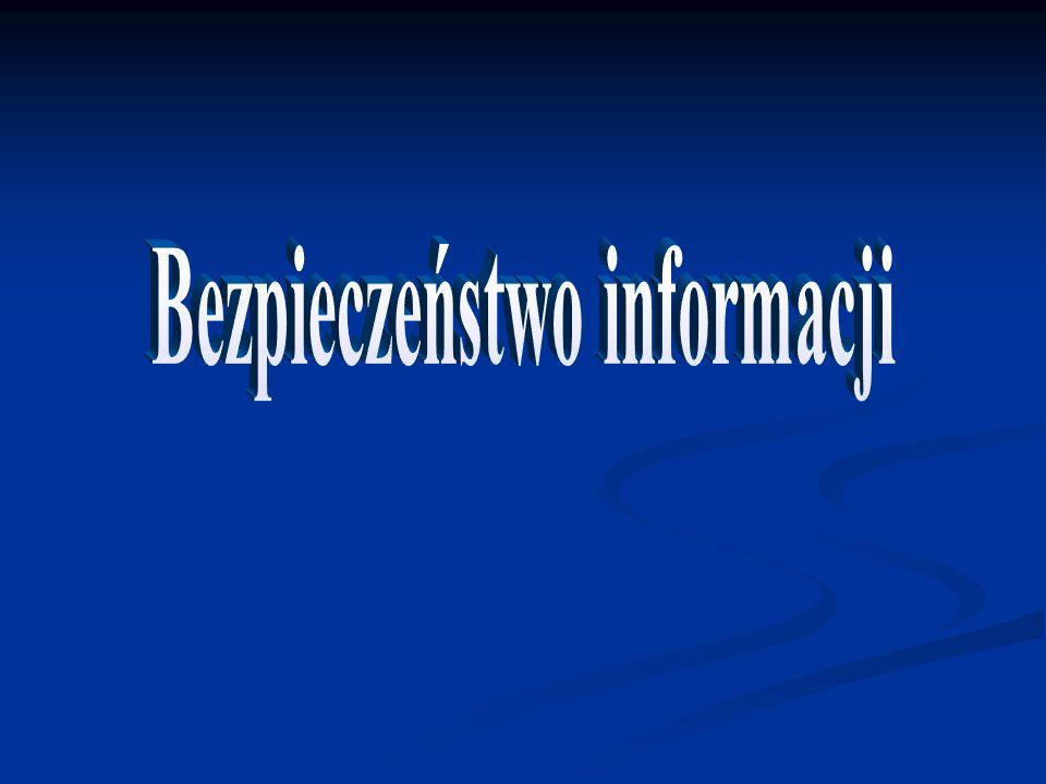 Określenie bezpieczeństwa informacji Rodzaje zagrożeń Zagrożenia w sieci Internet Filary bezpieczeństwa Wzmacnianie bezpieczeństwa: Archiwizacja UPS Ściany ogniowe Szyfrowanie informacji Szyfry asymetryczne Symetryczne szyfry blokowe Symetryczne szyfry strumieniowe Podpis elektroniczny Bibliografia Zakończ prezentację