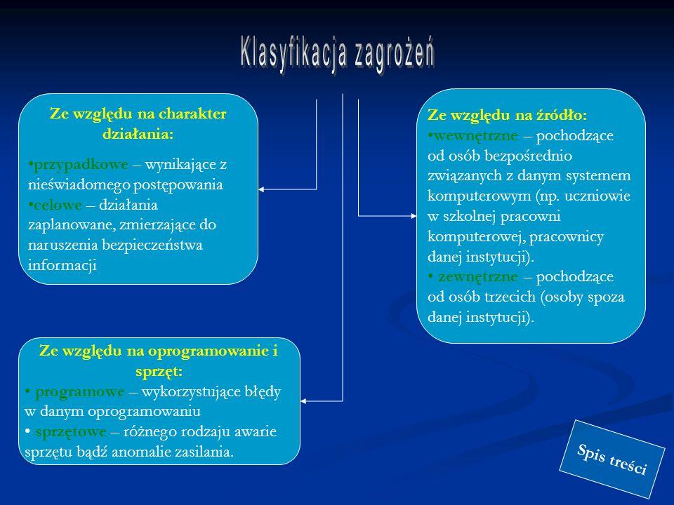Zagrożenia bezpieczeństwa w sieci Internet można ogólnie podzielić na następujące klasy: uzyskanie dostępu do danych transmitowanych przez sieć lub przechowywanych na dołączonych do sieci komputerach przez osoby niepowołane; uzyskanie dostępu do innych zasobów (moc obliczeniowa komputerów itd.) przez osoby niepowołane; utrata danych na skutek złośliwej ingerencji zewnętrznej; fałszerstwo danych (dotyczy zwłaszcza poczty elektronicznej, gdzie zachodzi m.in.