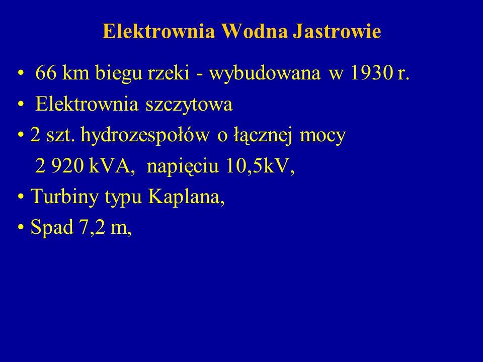 Elektrownia Wodna Jastrowie 66 km biegu rzeki - wybudowana w 1930 r. Elektrownia szczytowa 2 szt. hydrozespołów o łącznej mocy 2 920 kVA, napięciu 10,