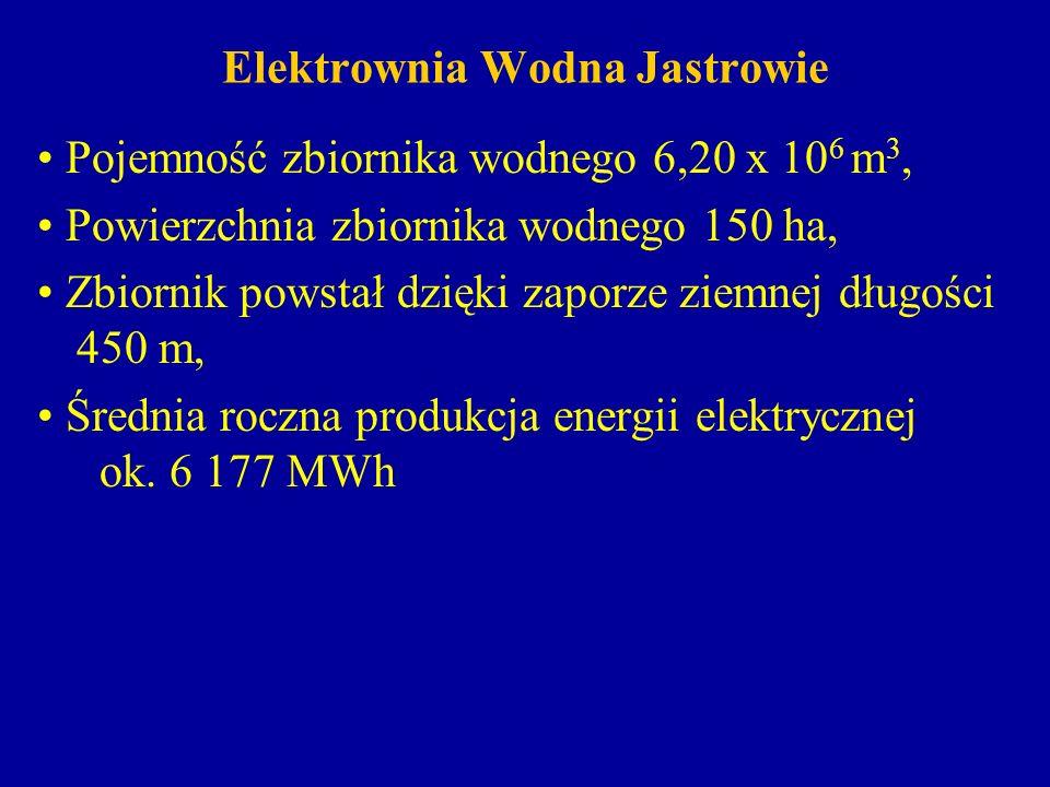 Elektrownia Wodna Jastrowie Pojemność zbiornika wodnego 6,20 x 10 6 m 3, Powierzchnia zbiornika wodnego 150 ha, Zbiornik powstał dzięki zaporze ziemne