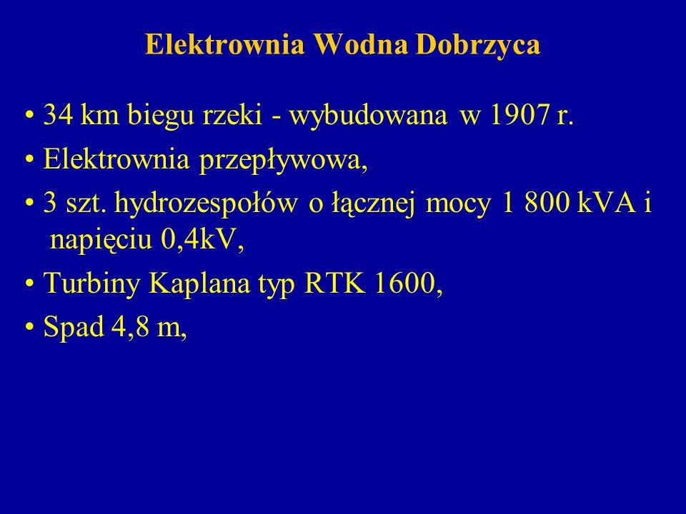 Elektrownia Wodna Dobrzyca 34 km biegu rzeki - wybudowana w 1907 r. Elektrownia przepływowa, 3 szt. hydrozespołów o łącznej mocy 1 800 kVA i napięciu