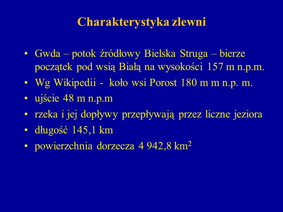 Charakterystyka zlewni Przepływy charakterystyczne w przekroju Piła (A = 4608 km 2, km 21,2) z wielolecia 1951-1970 (20 lat): Najwyższy114,0 m 3 /s Średni 25,6 m 3 /s Najniższy 9,9 m 3 /s P = 1%110 m 3 /s P = 2%101 m 3 /s