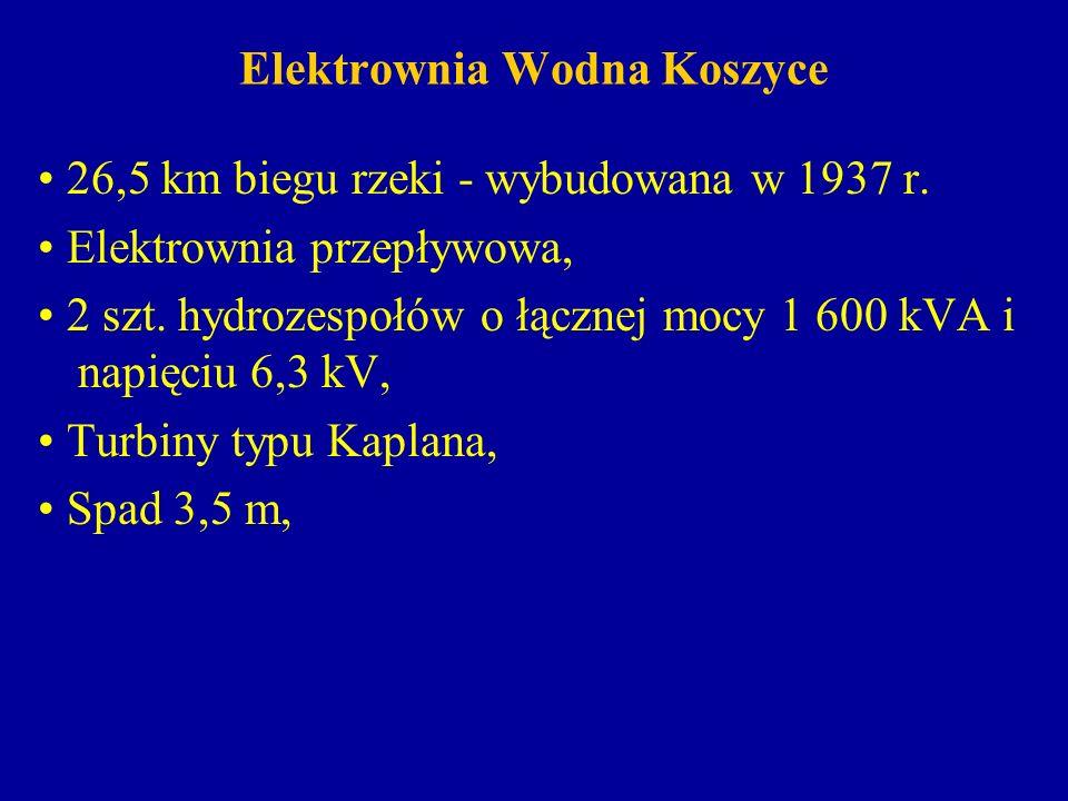 Elektrownia Wodna Koszyce 26,5 km biegu rzeki - wybudowana w 1937 r. Elektrownia przepływowa, 2 szt. hydrozespołów o łącznej mocy 1 600 kVA i napięciu