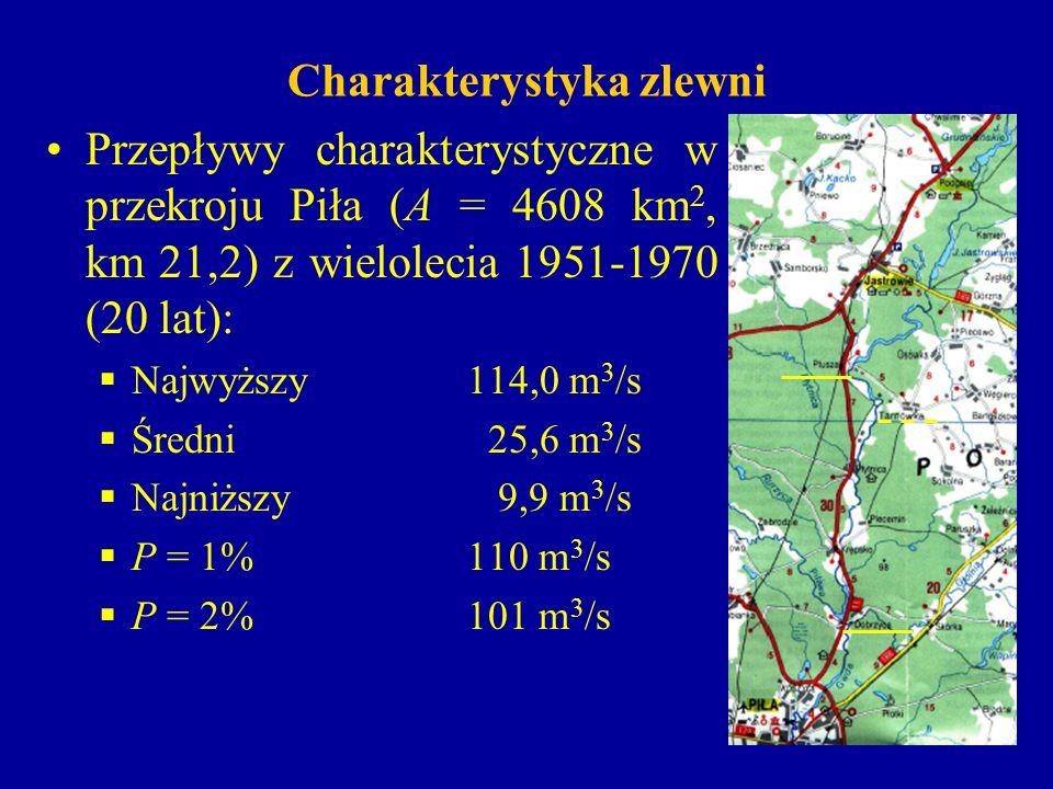Charakterystyka zlewni Przepływy charakterystyczne w przekroju Piła (A = 4608 km 2, km 21,2) z wielolecia 1951-1970 (20 lat): Najwyższy114,0 m 3 /s Śr