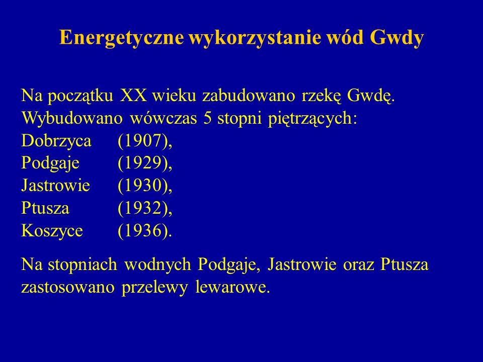 Energetyczne wykorzystanie wód Gwdy Profil podłużny Gwdy; częściowa kaskada