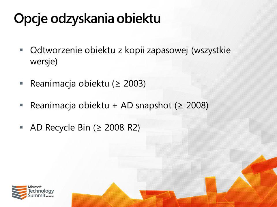 Opcje odzyskania obiektu Odtworzenie obiektu z kopii zapasowej (wszystkie wersje) Reanimacja obiektu ( 2003) Reanimacja obiektu + AD snapshot ( 2008)