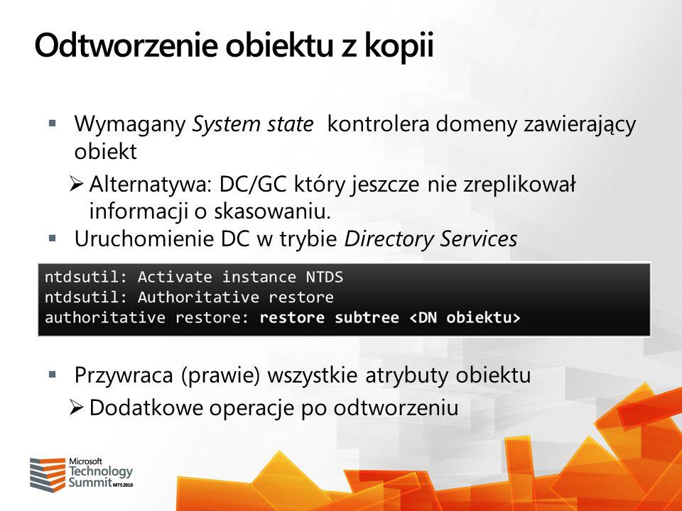 Odtworzenie obiektu z kopii Wymagany System state kontrolera domeny zawierający obiekt Alternatywa: DC/GC który jeszcze nie zreplikował informacji o s