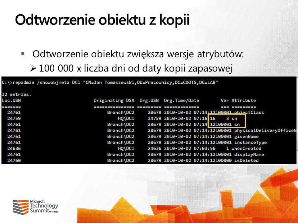 Odtworzenie obiektu z kopii Odtworzenie obiektu zwiększa wersje atrybutów: 100 000 x liczba dni od daty kopii zapasowej Możliwe samodzielne zwiększeni