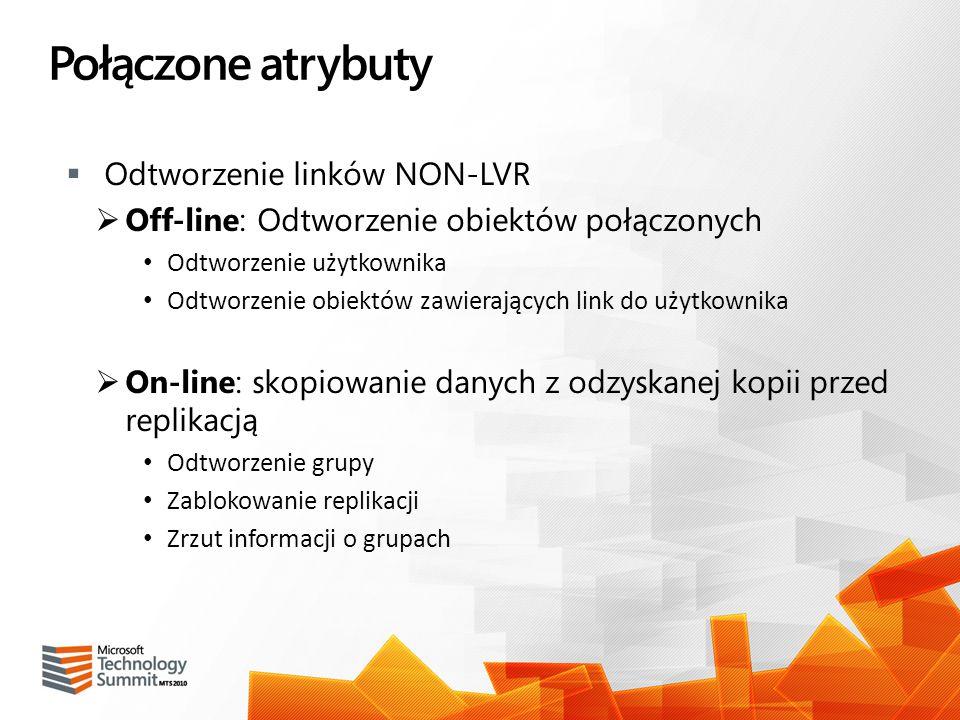 Połączone atrybuty Odtworzenie linków NON-LVR Off-line: Odtworzenie obiektów połączonych Odtworzenie użytkownika Odtworzenie obiektów zawierających li