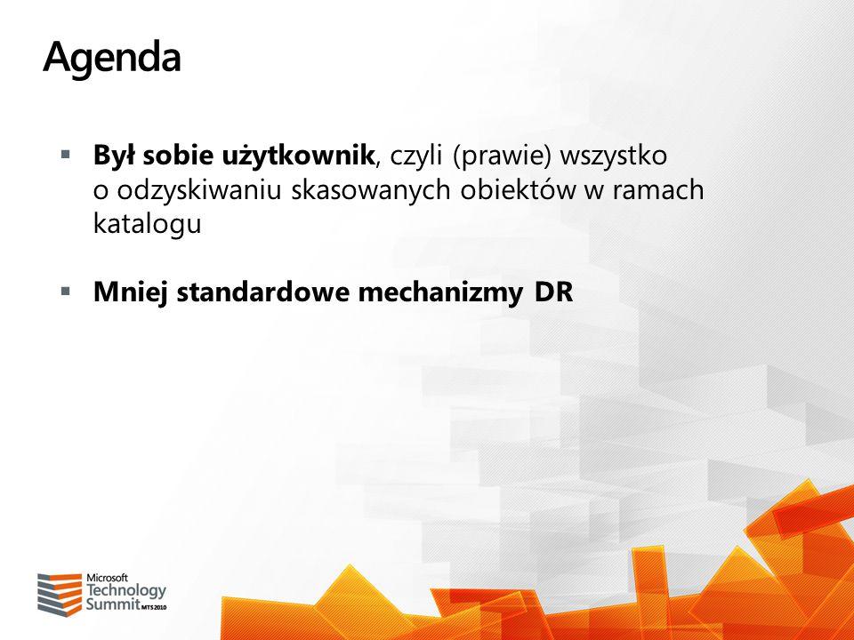 Agenda Był sobie użytkownik, czyli (prawie) wszystko o odzyskiwaniu skasowanych obiektów w ramach katalogu Mniej standardowe mechanizmy DR