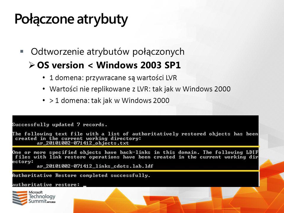 Połączone atrybuty Odtworzenie atrybutów połączonych OS version < Windows 2003 SP1 1 domena: przywracane są wartości LVR Wartości nie replikowane z LV