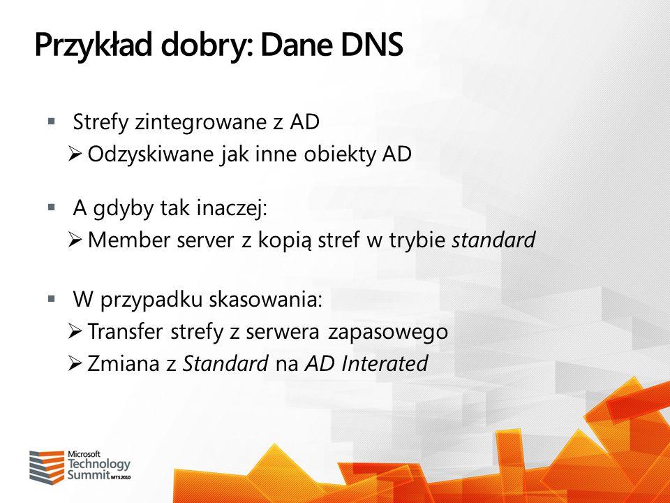Przykład dobry: Dane DNS Strefy zintegrowane z AD Odzyskiwane jak inne obiekty AD A gdyby tak inaczej: Member server z kopią stref w trybie standard W