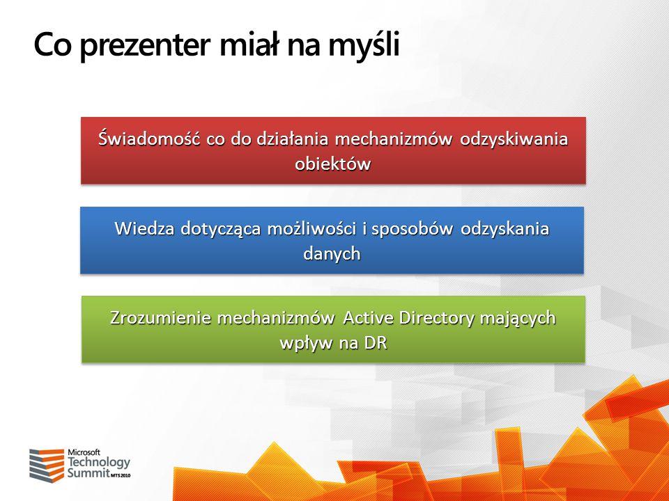 Co prezenter miał na myśli Świadomość co do działania mechanizmów odzyskiwania obiektów Zrozumienie mechanizmów Active Directory mających wpływ na DR
