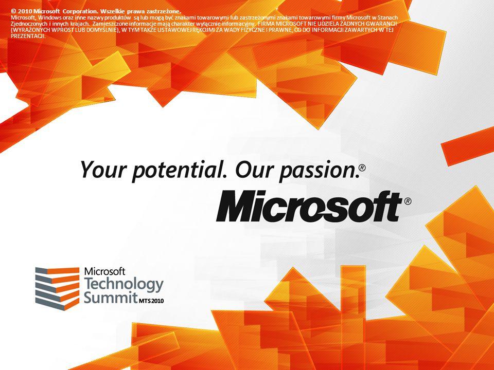 © 2010 Microsoft Corporation. Wszelkie prawa zastrzeżone. Microsoft, Windows oraz inne nazwy produktów są lub mogą być znakami towarowymi lub zastrzeż
