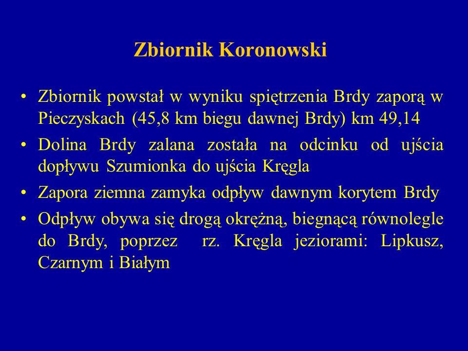 Zbiornik Koronowski Zbiornik powstał w wyniku spiętrzenia Brdy zaporą w Pieczyskach (45,8 km biegu dawnej Brdy) km 49,14 Dolina Brdy zalana została na odcinku od ujścia dopływu Szumionka do ujścia Kręgla Zapora ziemna zamyka odpływ dawnym korytem Brdy Odpływ obywa się drogą okrężną, biegnącą równolegle do Brdy, poprzez rz.