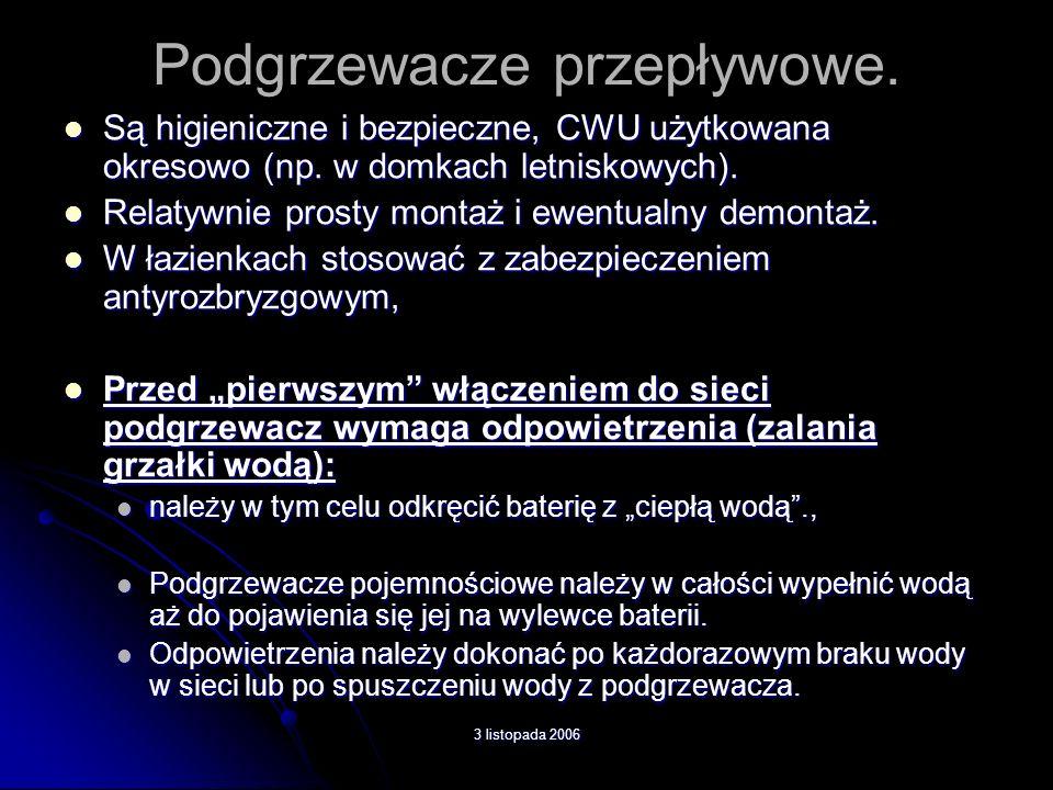 3 listopada 2006 Podgrzewacze pojemnościowe.