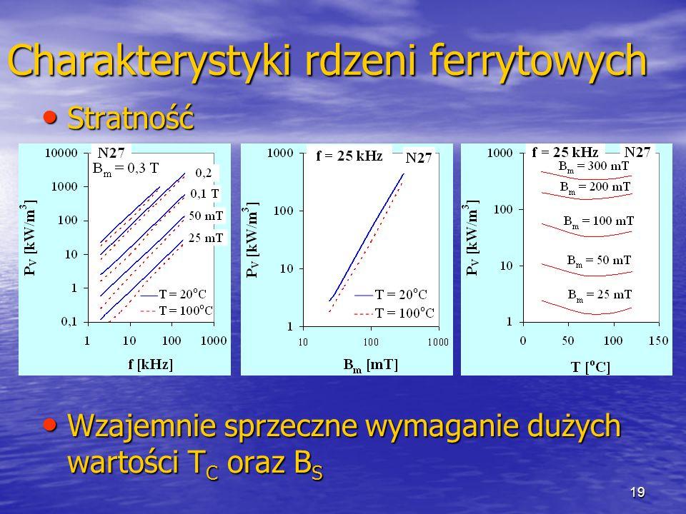 19 Charakterystyki rdzeni ferrytowych Stratność Stratność Wzajemnie sprzeczne wymaganie dużych wartości T C oraz B S Wzajemnie sprzeczne wymaganie dużych wartości T C oraz B S