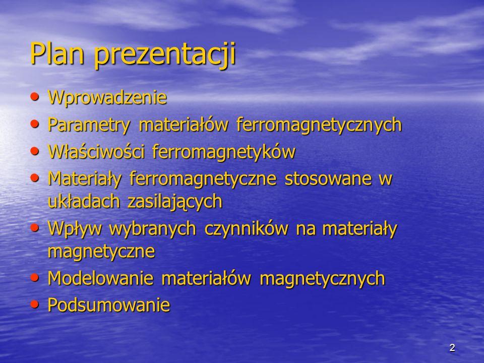 2 Plan prezentacji Wprowadzenie Wprowadzenie Parametry materiałów ferromagnetycznych Parametry materiałów ferromagnetycznych Właściwości ferromagnetyków Właściwości ferromagnetyków Materiały ferromagnetyczne stosowane w układach zasilających Materiały ferromagnetyczne stosowane w układach zasilających Wpływ wybranych czynników na materiały magnetyczne Wpływ wybranych czynników na materiały magnetyczne Modelowanie materiałów magnetycznych Modelowanie materiałów magnetycznych Podsumowanie Podsumowanie