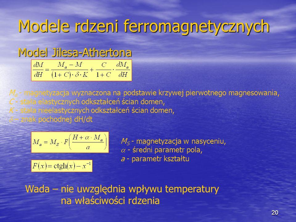 20 Modele rdzeni ferromagnetycznych Model Jilesa-Athertona M a - magnetyzacja wyznaczona na podstawie krzywej pierwotnego magnesowania, C - stała elastycznych odkształceń ścian domen, K - stała nieelastycznych odkształceń ścian domen, – znak pochodnej dH/dt M S - magnetyzacja w nasyceniu, - średni parametr pola, a - parametr kształtu Wada – nie uwzględnia wpływu temperatury na właściwości rdzenia