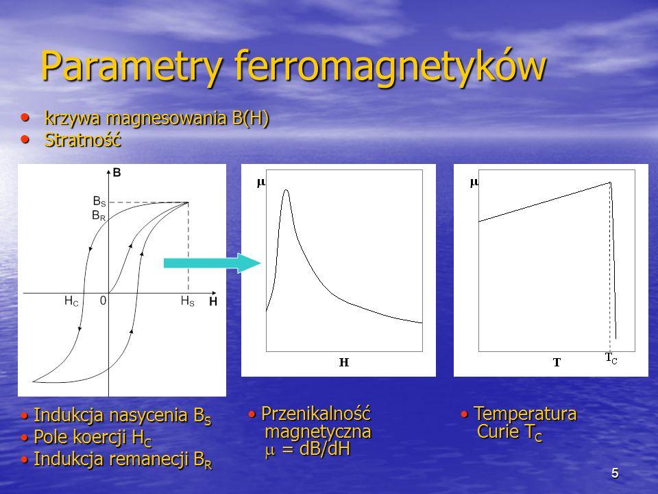 5 Parametry ferromagnetyków krzywa magnesowania B(H) krzywa magnesowania B(H) Stratność Stratność Indukcja nasycenia B S Indukcja nasycenia B S Pole koercji H C Pole koercji H C Indukcja remanecji B R Indukcja remanecji B R Przenikalność magnetyczna = dB/dH Przenikalność magnetyczna = dB/dH Temperatura Curie T C Temperatura Curie T C