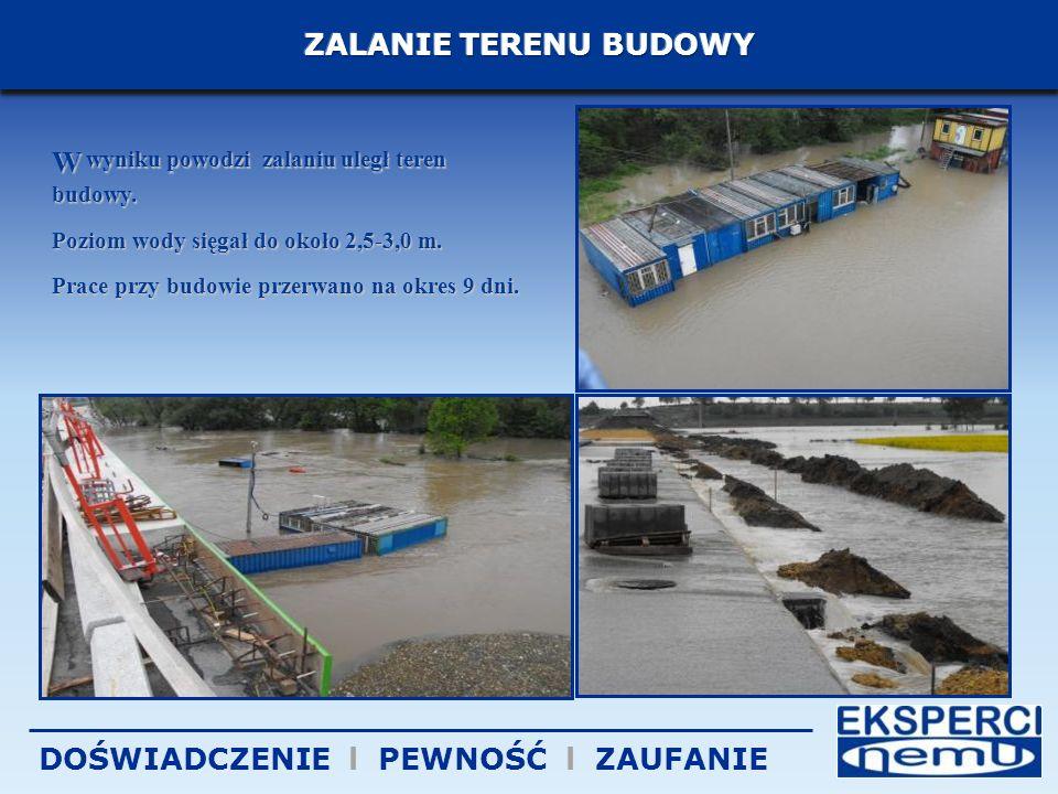 W wyniku powodzi zalaniu uległ teren budowy.Poziom wody sięgał do około 2,5-3,0 m.