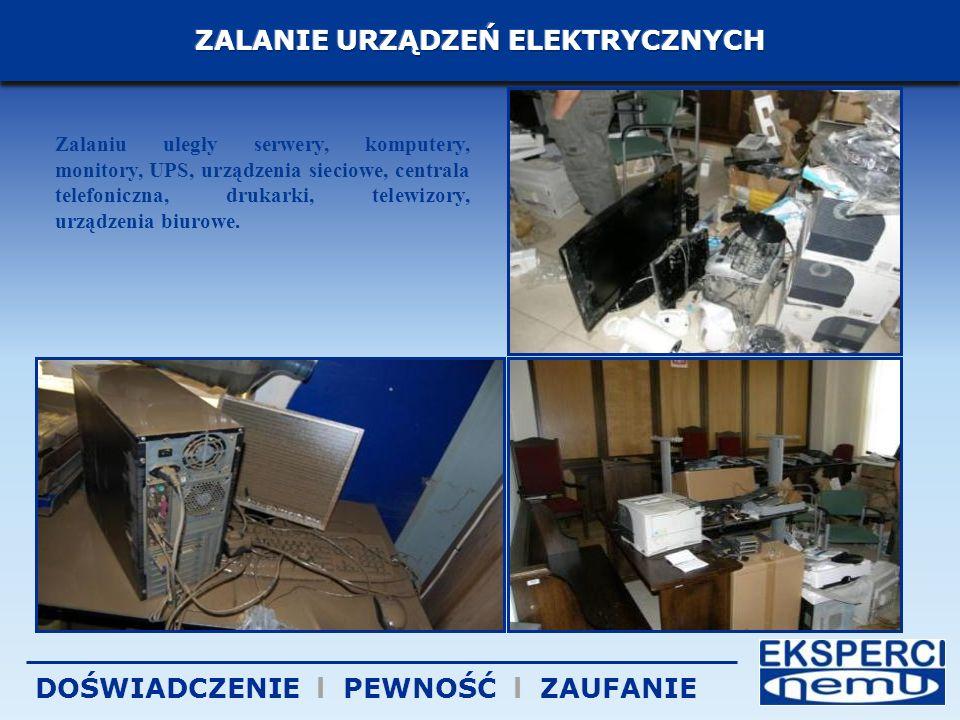 Zalaniu uległy serwery, komputery, monitory, UPS, urządzenia sieciowe, centrala telefoniczna, drukarki, telewizory, urządzenia biurowe.
