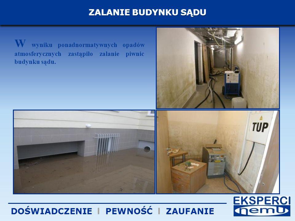 W wyniku ponadnormatywnych opadów atmosferycznych zastąpiło zalanie piwnic budynku sądu.