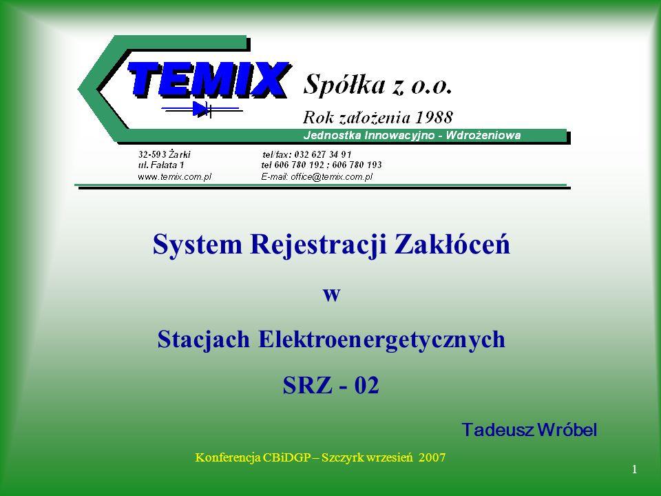 1 Konferencja CBiDGP – Szczyrk wrzesień 2007 Tadeusz Wróbel System Rejestracji Zakłóceń w Stacjach Elektroenergetycznych SRZ - 02
