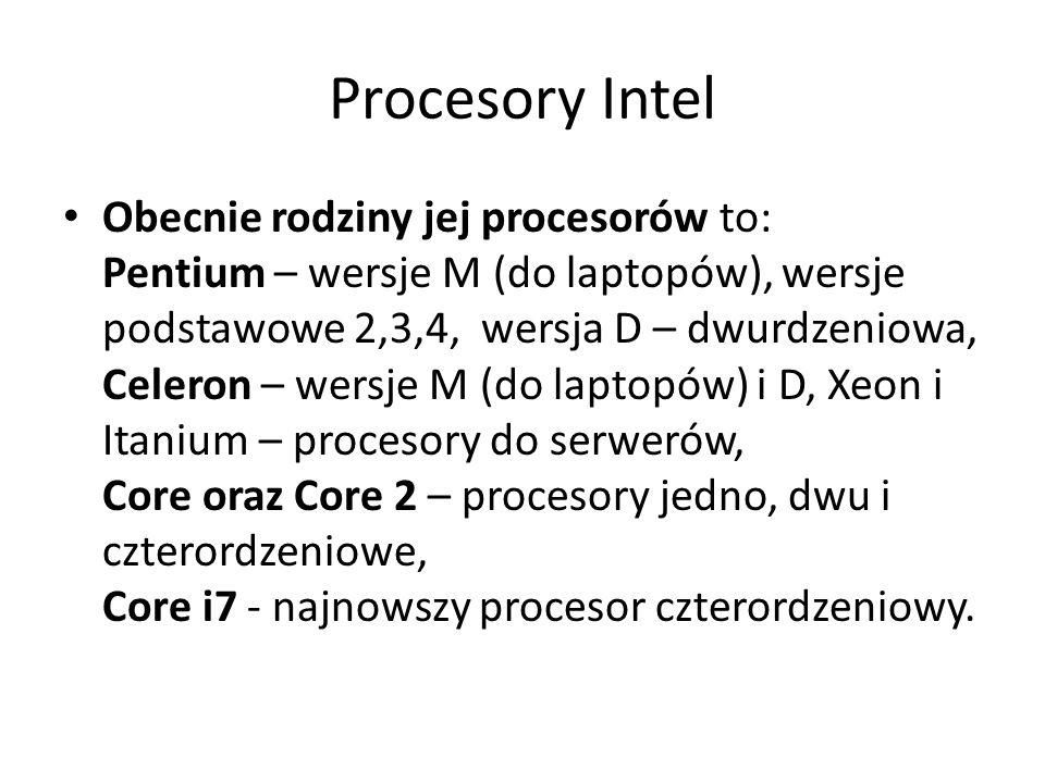 Procesory Intel Obecnie rodziny jej procesorów to: Pentium – wersje M (do laptopów), wersje podstawowe 2,3,4, wersja D – dwurdzeniowa, Celeron – wersj