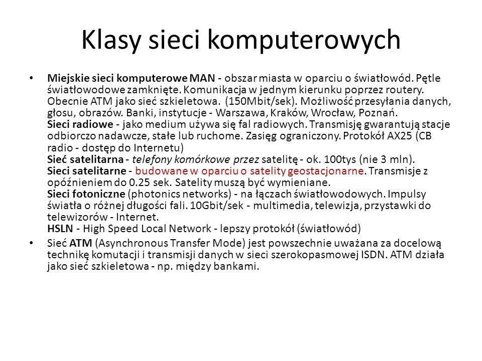 Klasy sieci komputerowych Miejskie sieci komputerowe MAN - obszar miasta w oparciu o światłowód. Pętle światłowodowe zamknięte. Komunikacja w jednym k