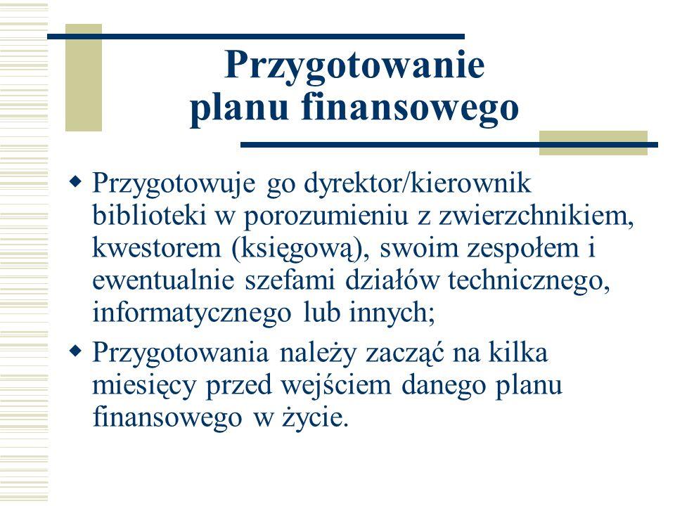Przygotowanie planu finansowego Przygotowuje go dyrektor/kierownik biblioteki w porozumieniu z zwierzchnikiem, kwestorem (księgową), swoim zespołem i