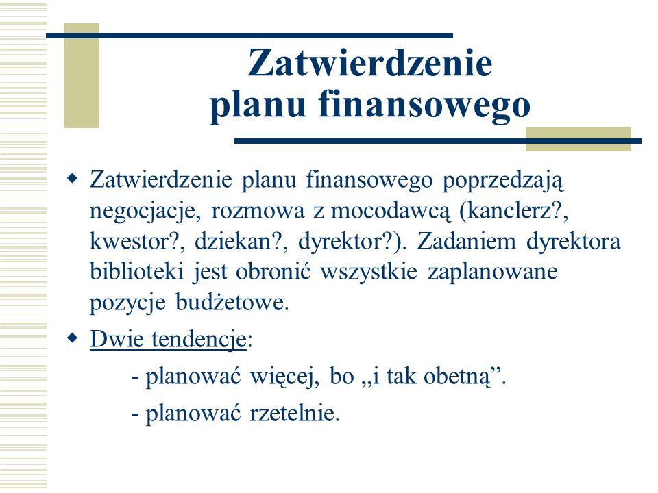Zatwierdzenie planu finansowego Zatwierdzenie planu finansowego poprzedzają negocjacje, rozmowa z mocodawcą (kanclerz?, kwestor?, dziekan?, dyrektor?)