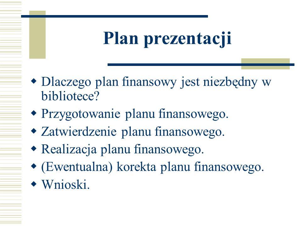Plan prezentacji Dlaczego plan finansowy jest niezbędny w bibliotece? Przygotowanie planu finansowego. Zatwierdzenie planu finansowego. Realizacja pla