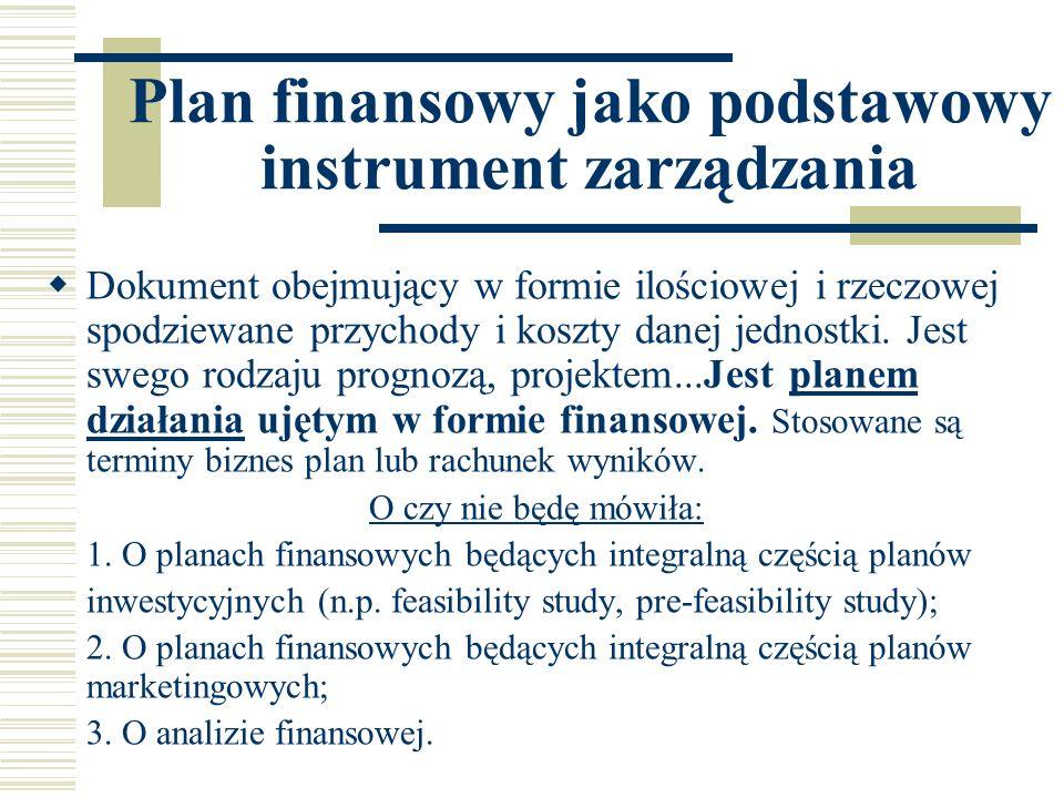 Plan finansowy jako podstawowy instrument zarządzania Dokument obejmujący w formie ilościowej i rzeczowej spodziewane przychody i koszty danej jednost
