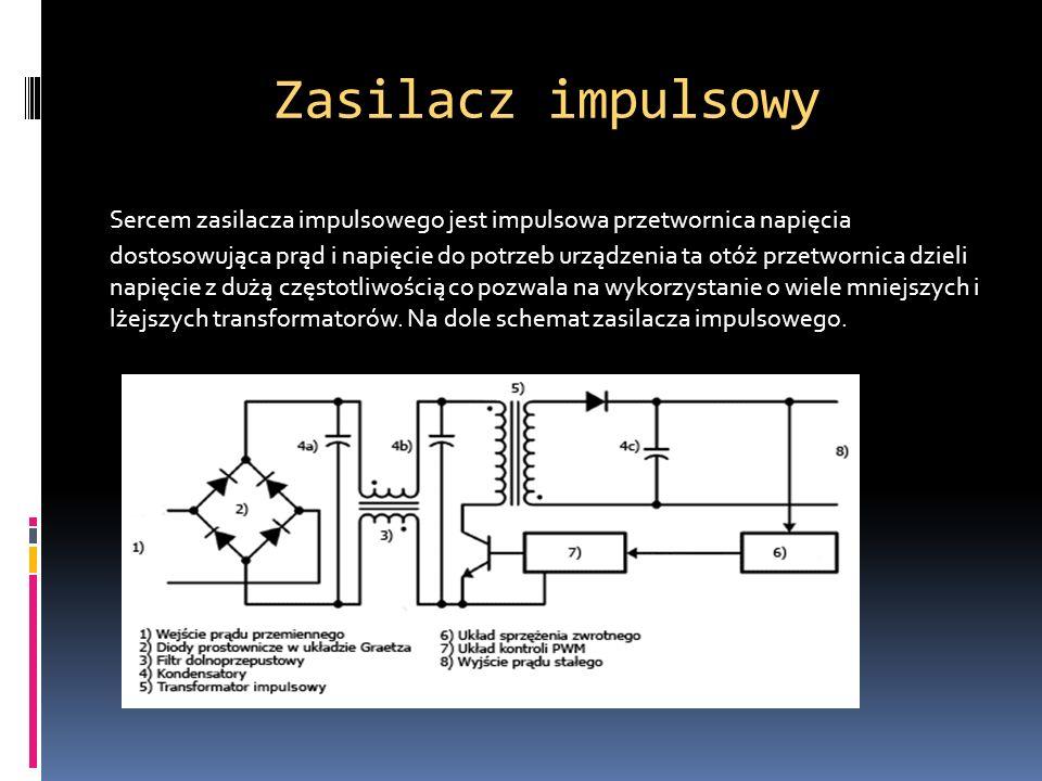 Zasilacz impulsowy Sercem zasilacza impulsowego jest impulsowa przetwornica napięcia dostosowująca prąd i napięcie do potrzeb urządzenia ta otóż przet