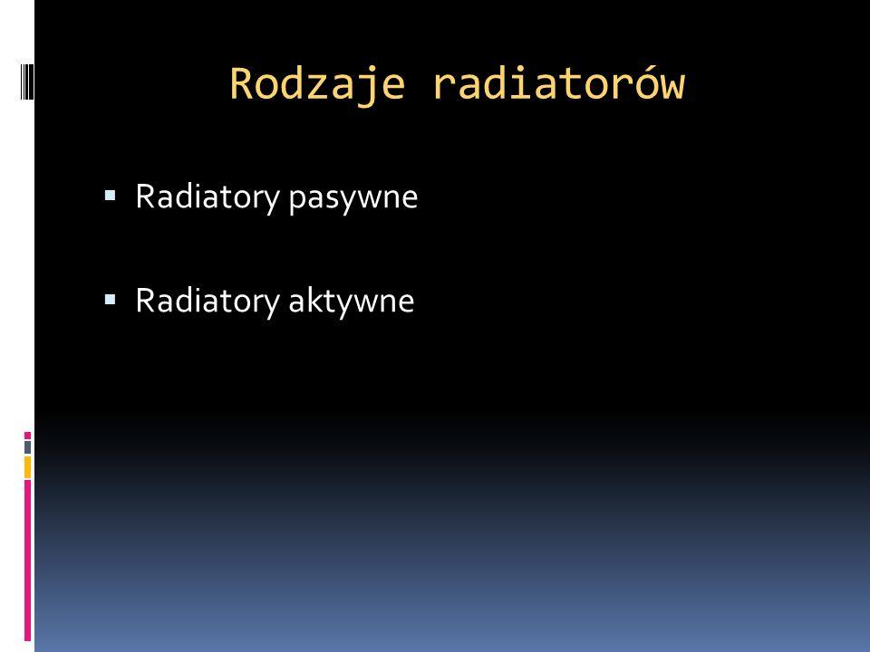 Rodzaje radiatorów Radiatory pasywne Radiatory aktywne