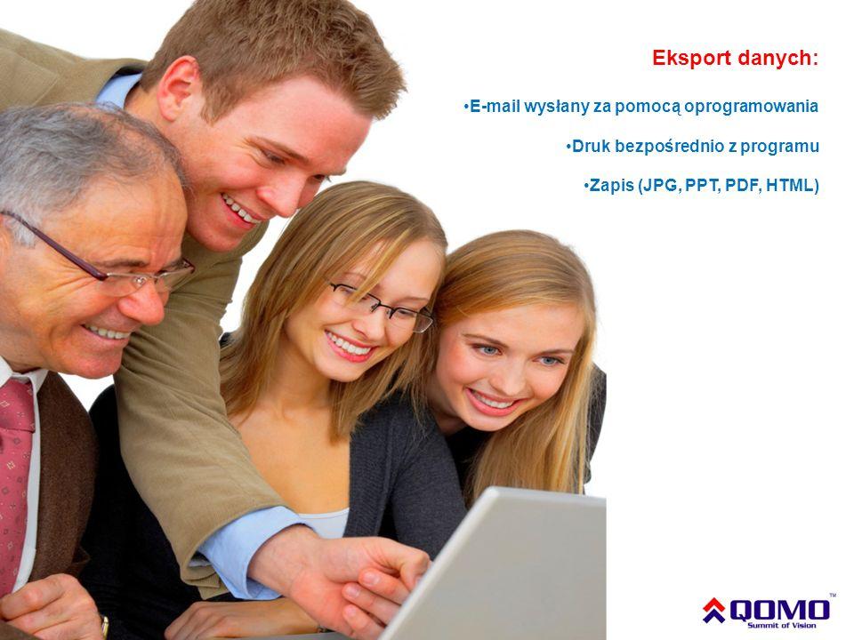 Eksport danych: E-mail wysłany za pomocą oprogramowania Druk bezpośrednio z programu Zapis (JPG, PPT, PDF, HTML)