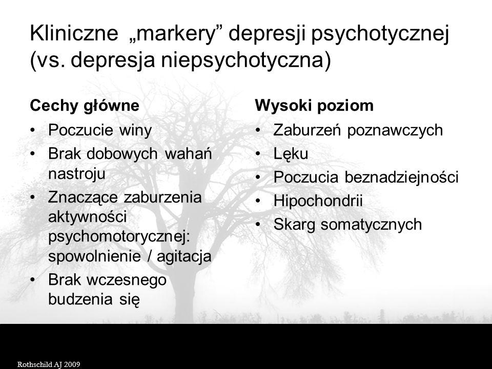 Epidemiologia depresji psychotycznej Populacje% występowania Ogólna0,4 Ogólna (wiek podeszły)< 3,1 Z epizodem depresji< 18,6 Z CHAD>18,5 Z epizodem de