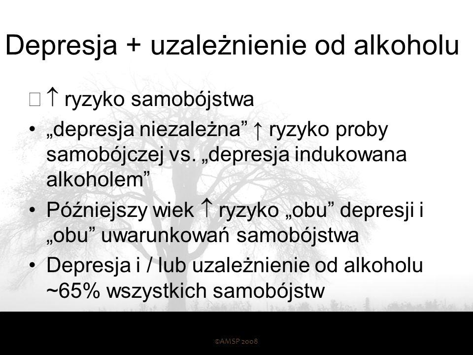 Uzależnienie od alkoholu i epizod depresyjny ©AMSP 2008 42 Epizod depresji Uzależnienie od alkoholu Depresja zależna 26% Niezalezna 15%