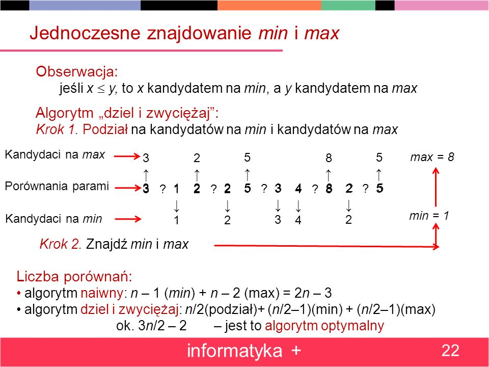 3 1 2 2 5 3 4 8 2 5 Jednoczesne znajdowanie min i max informatyka + 22 Obserwacja: jeśli x y, to x kandydatem na min, a y kandydatem na max Algorytm dziel i zwyciężaj: Krok 1.