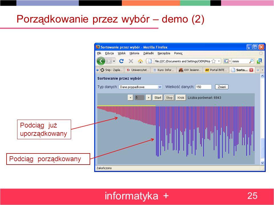 Porządkowanie przez wybór – demo (2) informatyka + 25 Podciąg już uporządkowany Podciąg porządkowany