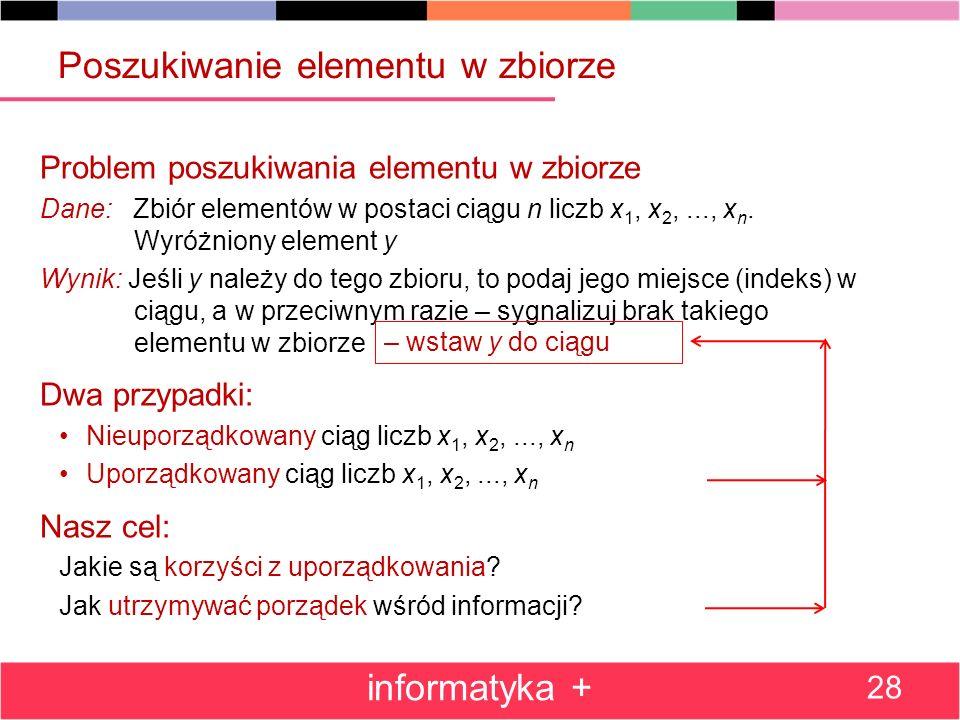 Poszukiwanie elementu w zbiorze Problem poszukiwania elementu w zbiorze Dane: Zbiór elementów w postaci ciągu n liczb x 1, x 2,..., x n. Wyróżniony el