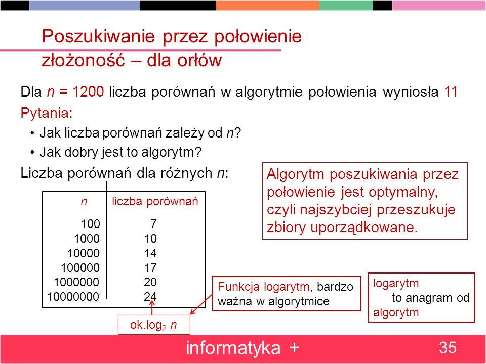 Dla n = 1200 liczba porównań w algorytmie połowienia wyniosła 11 Pytania: Jak liczba porównań zależy od n? Jak dobry jest to algorytm? Liczba porównań
