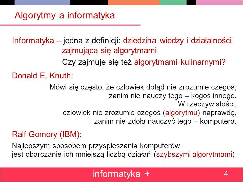 Algorytmy a informatyka Informatyka – jedna z definicji: dziedzina wiedzy i działalności zajmująca się algorytmami Czy zajmuje się też algorytmami kulinarnymi.