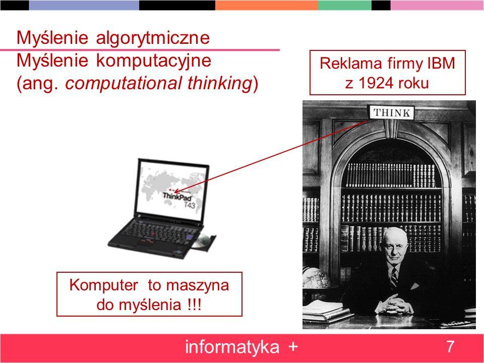 Myślenie algorytmiczne Myślenie komputacyjne (ang.