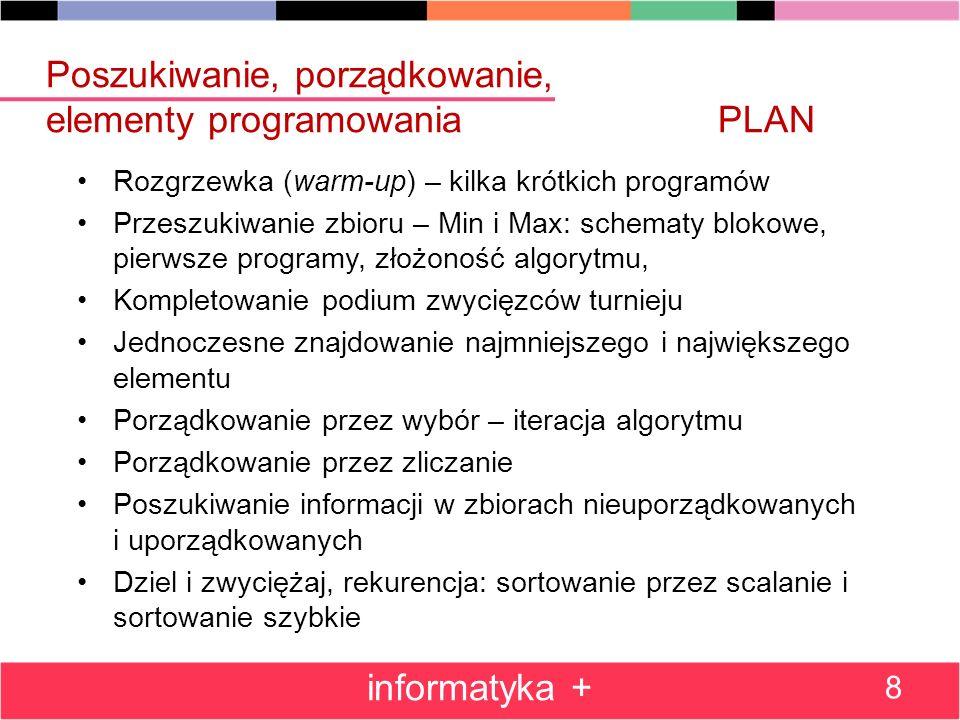 Poszukiwanie, porządkowanie, elementy programowaniaPLAN Rozgrzewka (warm-up) – kilka krótkich programów Przeszukiwanie zbioru – Min i Max: schematy bl
