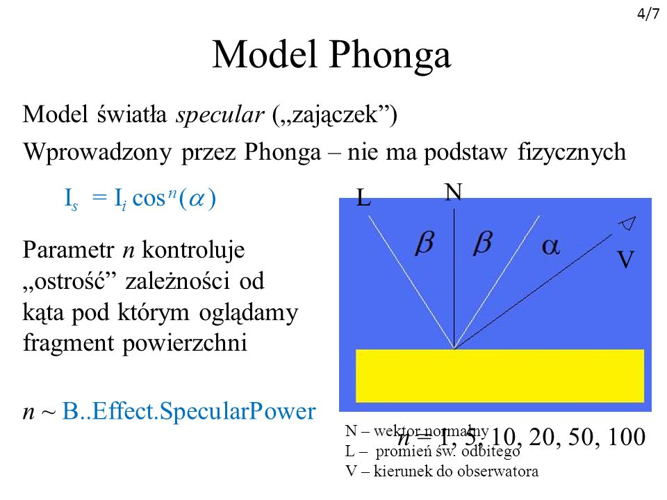 Model Phonga Model światła specular (zajączek) Wprowadzony przez Phonga – nie ma podstaw fizycznych I s = I i cos n ( ) Parametr n kontroluje ostrość zależności od kąta pod którym oglądamy fragment powierzchni n = 1, 5, 10, 20, 50, 100 n ~ B..Effect.SpecularPower N – wektor normalny L – promień św.