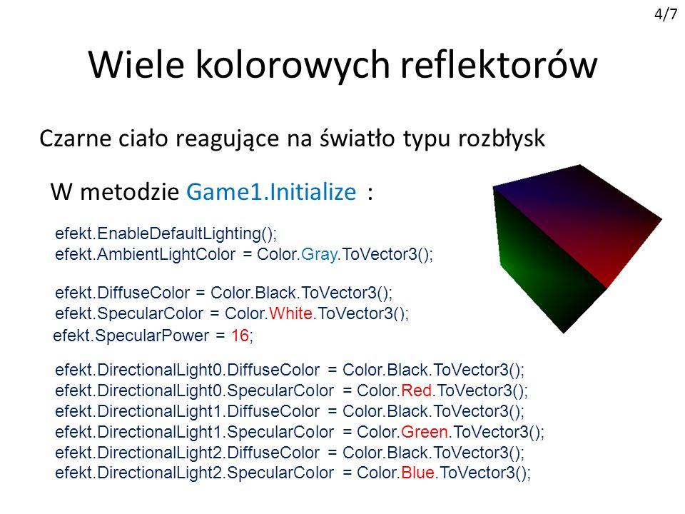 Wiele kolorowych reflektorów 4/7 W metodzie Game1.Initialize : efekt.EnableDefaultLighting(); efekt.AmbientLightColor = Color.Gray.ToVector3(); efekt.DiffuseColor = Color.Black.ToVector3(); efekt.SpecularColor = Color.White.ToVector3(); efekt.EmissiveColor = Color.Black.ToVector3(); efekt.DirectionalLight0.DiffuseColor = Color.Black.ToVector3(); efekt.DirectionalLight0.SpecularColor = Color.Red.ToVector3(); efekt.DirectionalLight1.DiffuseColor = Color.Black.ToVector3(); efekt.DirectionalLight1.SpecularColor = Color.Green.ToVector3(); efekt.DirectionalLight2.DiffuseColor = Color.Black.ToVector3(); efekt.DirectionalLight2.SpecularColor = Color.Blue.ToVector3(); efekt.SpecularPower = 16; Czarne ciało reagujące na światło typu rozbłysk